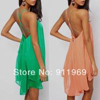 2014 New Sexy Dresses Halter Backless Chiffon Beach Dress Vestidos fine condole belt metal buckles cross hollow out S, M, L, XL