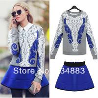 2014 Spring Fashion Women's The Anteroposterior Jacquard Pullover Sweater High Waist Zipper Short Skirt Set Free Shipping