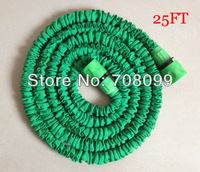 Free Shipping  25FT Green Expandable Garden Hose With Fast Green Connector  Original Length is About 2.5 Meter