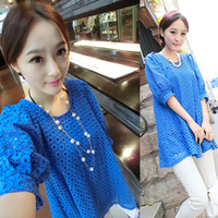 Fashion maternity clothing 2014 summer loose lantern sleeve lace one-piece dress maternity dress