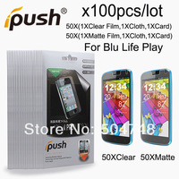 100pcs/Lot High Quality( Matte/Anti-Glare+Clear )Screen Protector Film For BLU Life Play With Ipush Package DHL EMS HK Shipping