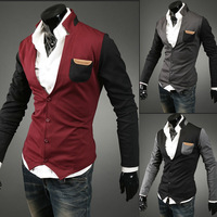 Hot-selling ! fashion Mens neckline color block decoration male cardigan sweater Free shipping