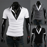 TOP quality Mens Personalized british style vintage faux two piece male short-sleeve slim T-shirt Free shipping