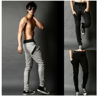 Promotion! Men's korean style sport pants casual slacks pocket design harem sweatpants skinny trousers free shipping