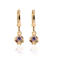 "Excellent 18K Real Gold Plated Colored & Ruby CZ ""Magic Ball""  Women's Drop/Dangle Earrings"