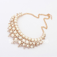 Min. is 10$ Fashion Crystal Pearl Necklace Chain Necklace Collar Choker Necklace Free Shipping