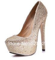 hot selling spring newest women gold crystal wedding heels sexy platform pumps 16cm rhinestone luxury dress heels black