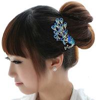 2014 New High Quality Diamond Hairpin Korean Rhinestone Peacock comb insert comb Phoenix