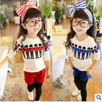 2014 spring child 100% cotton culottes set female child set