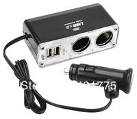 2 Port Socket Car Cigarette Lighter USB Hub Adaptor Power Socket for mobiles MP3 Free Shipping