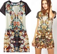CL1434 European Style Print Retro O-neck Fashion Short Sleeve Straight  Slim Women Dress Spring Summer Fall Lady Wear