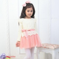 2014 latest fashion Spring children's clothing female child princess lace long-sleeve dress folwer girl dress