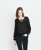2014 New Women Peter Pan Collar Casual Chiffon Blouse Ladies leisure Shirt,SW2132-G02