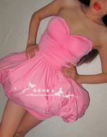 Fashion vintage sweet fish bone sexy pleated slim waist tube top lantern skirt