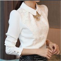 2014 spring peter pan collar chiffon  female elegant ol basic  long-sleeve slim  lace shirt