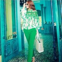 2014 new women clothing set blouse and pant  lace patchwork print chiffon shirt pants trousers set