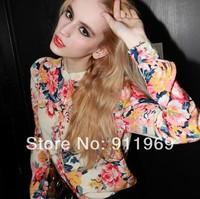 Free Shipping New Chiffon Blouse Shirt Women Long Sleeve Floral Pattern Cardigan Tops Shirts 2Colors
