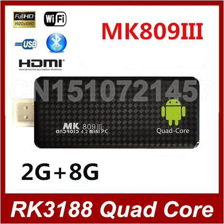 Мини-пк MK809 III четырехъядерный процессор RK3188 android-тв придерживайтесь 2 ГБ оперативной памяти 8 ГБ ROM 1.8 ГГц макс bluetooth gps-wifi Mk809III Android 4.4.2
