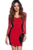 Red Black Hit color  Mesh Long Sleeves Bodycon Dress women dresses 2014  new fashion