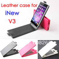 2014 Newest  Original iNEW V3 Flip up and down leather Case Cover INEW V3 Case High Quality Lowest Price Free shipping