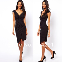 hot sale Pleated asymmetrical deep V-neck pencil short-sleeve high-elastic slim ol woman fashion dressshipping