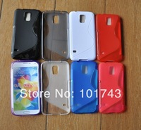 Wholesale 100pcs/lot S-line Soft Gel Tpu Case Back Cover Skin For Samsung Galaxy S V S5 i9600 ,Free shipping