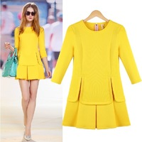 new 2014 spring summer fashion EU style elegant slim brief all-match plus size basic dresses