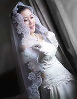 TBV7 Fashion big laciness bridal veil long trailing 3 meters lace mantilla wedding dress veil