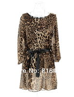 2014 New Fashion Korean Women's Ladies Loose Print Chiffon 1/2 Batwing Sleeve Leopard Dress Free Shipping 862