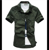 2014 14 Colors S-XXXL New military Cotton Shirt Men,short Sleeve Slim Fit Stylish Dress Shirts Casual Short Shirts Top Quality