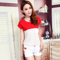 2014 women's patchwork color block t-shirt short-sleeve chiffon shirt all-match loose plus size top shirt