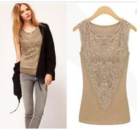 2014 women's  fashion plus size embroidery floral lace blouse lace camisole vest sleeveless basic shirt big size S-XXXL