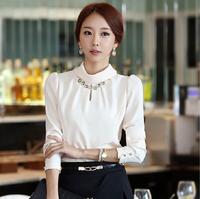 2014 plus size clothing turtleneck basic shirt chiffon shirt slim turn-down collar shirt female long-sleeve t-shirt