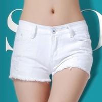 2014 summer casual shorts female hole jeans shorts super flash shorts