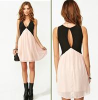 2014 Summer Casual  hit color back Hollow  deep V-neck sleeveless chiffon vest dress Free Shipping
