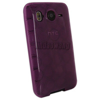 PURPLE TPU CASE COVER POUCH + LCD FILM FOR HTC DESIRE HD