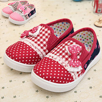 6 Sizes2 colors Cotton Fabric Baby girls flower shoes,Slip-On Children  kids casual shoes with bowknot  Patchwork design,60304-7