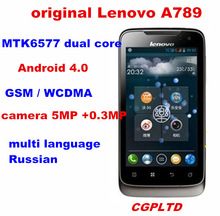 "original 4"" Lenovo A789 cell phones  MTK6577 dual core android4.0  4GB ROM 5.0MP camera 3G WCDMA GPS WIFI Multi language Russian(China (Mainland))"