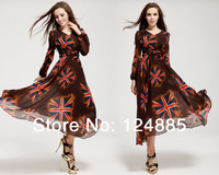 2014 New arrival chiffon velvet V-neck fashion The Union Flag design long sleeve beach dress lantern sleeve long skirt 51313