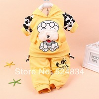 2014 spring new arrival children suits hooded in puppy pattern,two-piece,in cotton