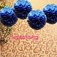 "Free Shipping--10""(25cm) 50pcs Navy Blue Tissue Paper Pom Poms Flower Ball Baby Shower Favor Party Decor-Mixed 20 Colors uPick"