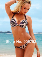 2013 new explosion models women bikini swimsuit sexy sexy leopard steel prop gather bikini swimsuit Free Shipping DST-224