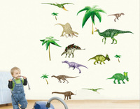 Free shipping wall stickers home decor adesivo de parede living room bedroom TV background  PVC wall stickers green dinosaur