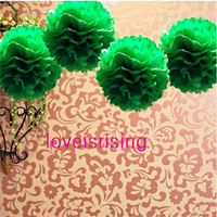 "Free Shipping--10""(25cm) 50pcs Green Tissue Paper Pom Poms Flower Ball Baby Shower Favor Party Decor-Mixed 20 Colors uPick"