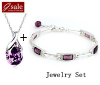 GS Brand Set-12 new 2014 Purple Shiny Super Crystal necklace &bracelet sterling silver jewelry fashion ladies'  jewelry sets