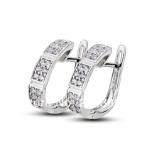 GNE0907 Top Quality Genuine 925 Sterling Silver Earrings Fashion Jewelry CZ Hoop Earrings for Women Free Shipping Only For US
