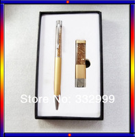 Free shipping beautiful colorful yellow crystal pen with 8G U flash drive costly present for friend party crystal element