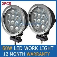"2pcs 7"" 60W LED work light Cree offroad driving light spot beam 4x4 cross country Car Truck OffRoad Fog lamp"
