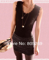 Black Summer sexy halter top full lace primer shirt wavy edge hollow sexy lace vest