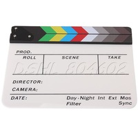 Acrylic Colorful Clapperboard TV Film Movie Slate Cut Role Play Prop Hollywood